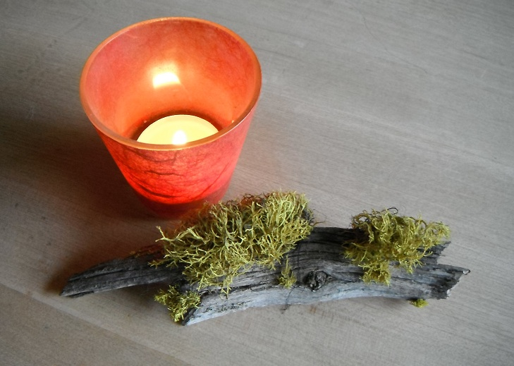 moss and red candle